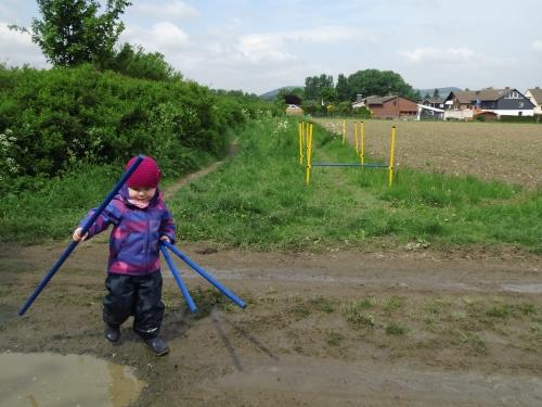 Auch Ylvi half eifrig mit die Hürden aufzubauen.